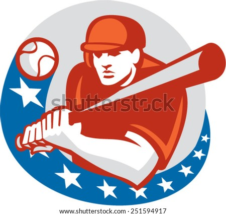 Illustration of an American baseball player batter hitter holding bat ready to strike set inside circle with stars on isolated background done in retro style. - stock vector
