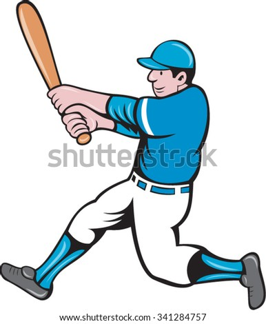 Illustration of an american baseball player batter holding bat batting swinging bat viewed from the side set on isolated white background done in cartoon style.  - stock vector