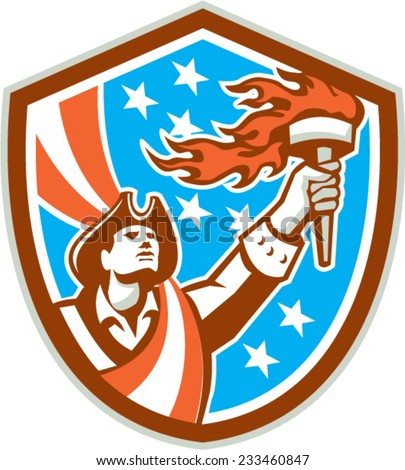 Illustration of an American Patriot holding a flaming torch looking up set inside shield crest with USA stars and stripes flag in the background done in retro style.  - stock vector