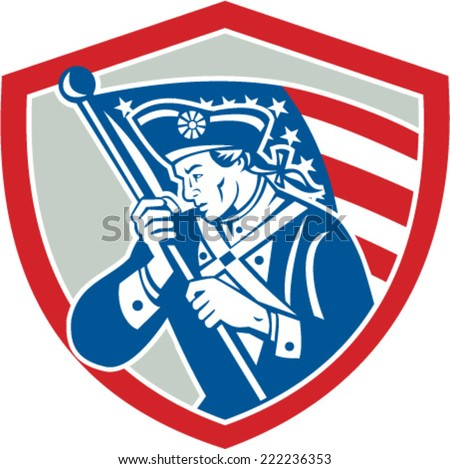 Illustration of an American Patriot revolutionary soldier waving USA stars and stripes flag looking to side set inside shield crest done in retro style - stock vector