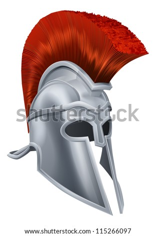 Illustration of an ancient Greek Warrior helmet, Spartan helmet, Roman helmet or Trojan helmet. - stock vector
