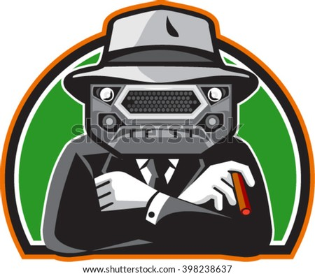 Illustration of an angry mobster with car grille grill face wearing hat , tie and suit arms folded facing front set inside half circle done in retro style.  - stock vector