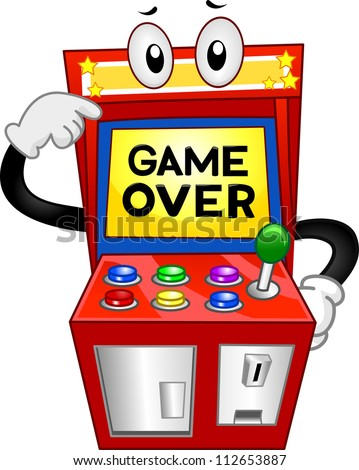 Illustration of an Arcade Machine with the Words Game Over Displayed on its Monitor - stock vector