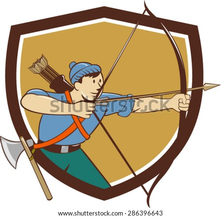 Illustration of an archer aiming with long bow and arrow viewed from side set inside crest shield done in cartoon style. - stock vector