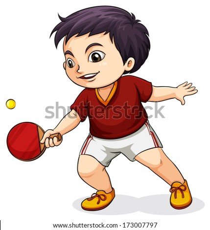 Illustration of an Asian boy playing table tennis on a white background - stock vector