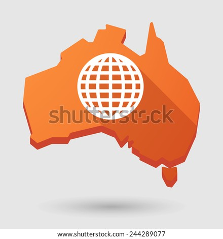 Illustration of an Australia map icon with a world globe - stock vector