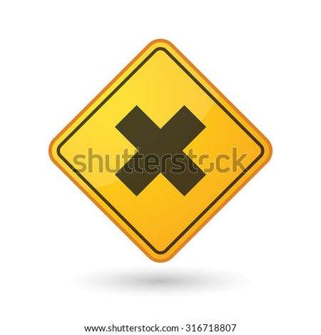 Illustration of an awareness sign with an x sign - stock vector