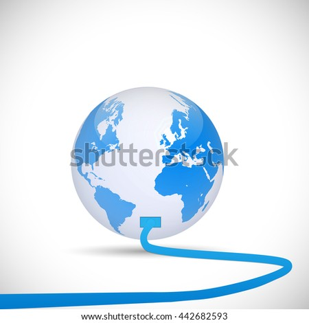 Illustration of an cord plugging into the earth isolated on a white background. - stock vector