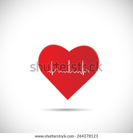 Illustration of an ECG wave inside of a red heart isolated on a white background. - stock vector