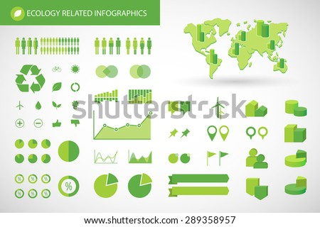 illustration of an   ecology  related infographics kit - stock vector