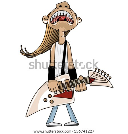 Illustration of an electric guitar player - stock vector