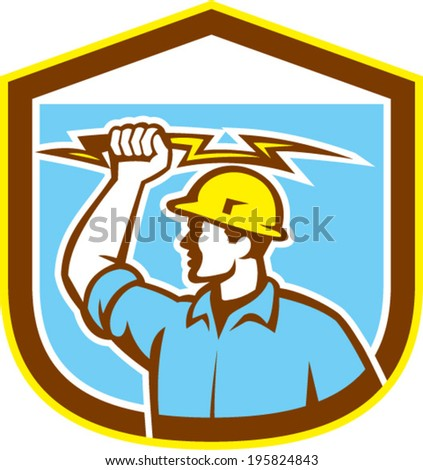 Illustration of an electrician construction worker holding a lightning bolt set inside shield crest done in retro style on isolated background. - stock vector