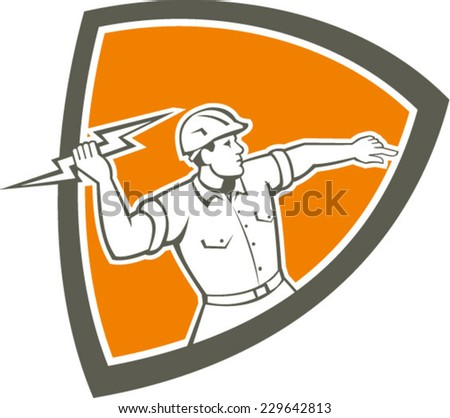 Illustration of an electrician construction worker holding a lightning bolt throwing viewed from the side set inside shield crest done in retro style on isolated background. - stock vector