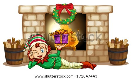 Illustration of an elf in front of the fireplace on a white background - stock vector
