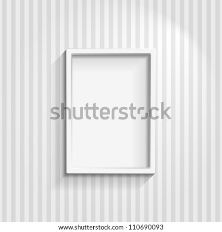 Illustration of an empty frame on a striped wall - stock vector