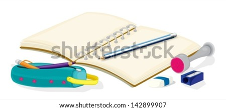 Illustration of an empty notebook, pencils, a pencil case, an eraser and a sharpener on a white background - stock vector