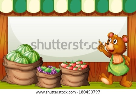 Illustration of an empty template at the market with a bear and sack of fruits - stock vector