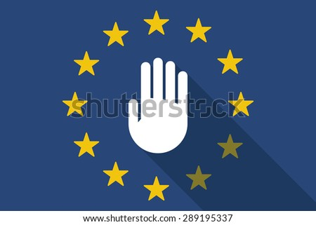Illustration of an European Union  long shadow flag with a hand - stock vector