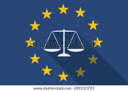 Illustration of an European Union long shadow flag with a weight scale - stock vector