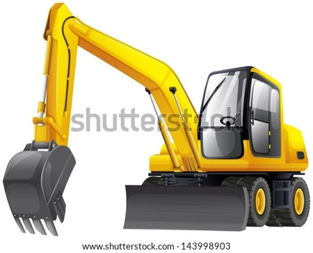 Illustration of an excavator - stock vector