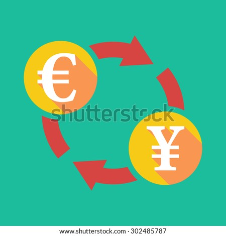 Illustration of an exchange sign with an euro sign and a yen sign - stock vector