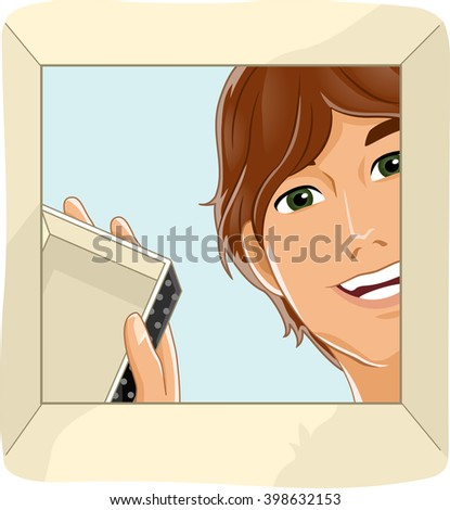 Illustration of an Excited Man Opening a Box - stock vector