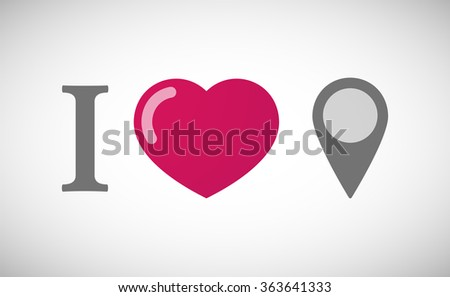 """Illustration of an """"I love"""" hieroglyph with a map mark - stock vector"""