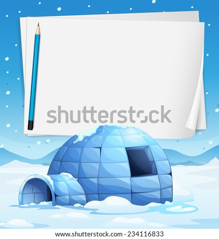 Illustration of an igloo with papers and a pencil - stock vector