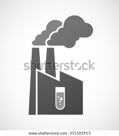 Illustration of an industrial factory icon with a chemical test tube - stock vector
