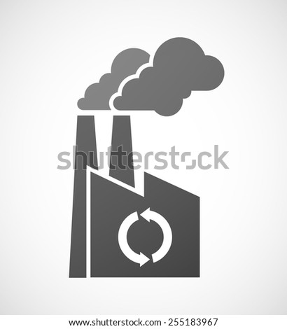 Illustration of an industrial factory icon with a recycle sign - stock vector