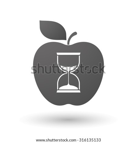 Illustration of an isolated apple with a sand clock - stock vector
