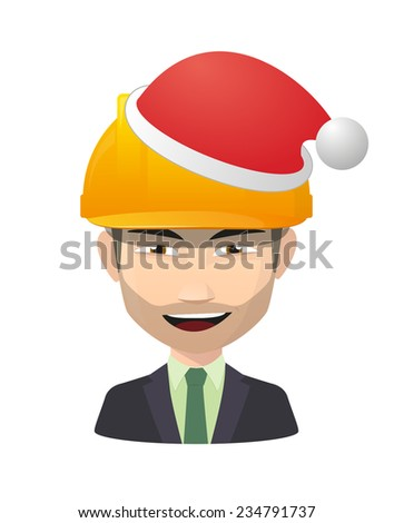 Illustration of an isolated asian worker avatar wearing a santa hat - stock vector