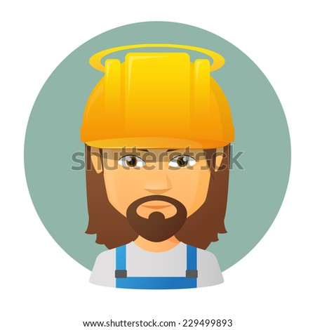 Illustration of an isolated avatar of Jesus wearing work clothes - stock vector
