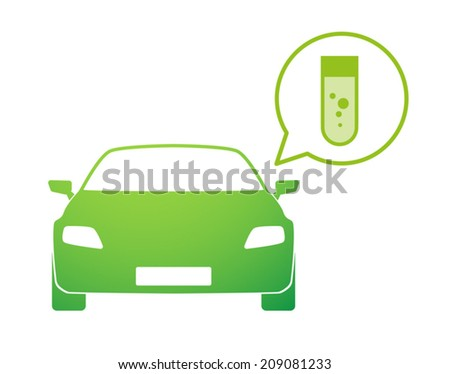 Illustration of an isolated car ar with a comic balloon and a icon - stock vector
