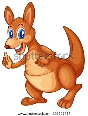 Illustration of an isolated cartoon kangaroo - stock vector