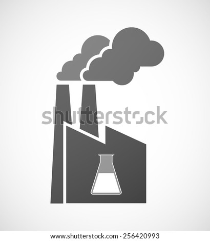 Illustration of an isolated factory icon with a chemical test tube - stock vector