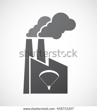 Illustration of an isolated factory icon with a paraglider - stock vector