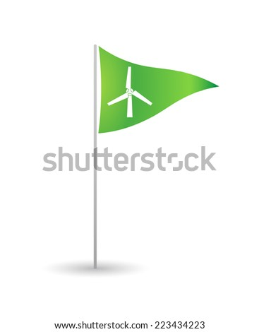 Illustration of an isolated flag with a propeller - stock vector