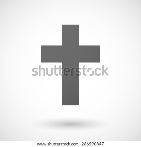 Illustration of an isolated grey cristian cross icon - stock vector