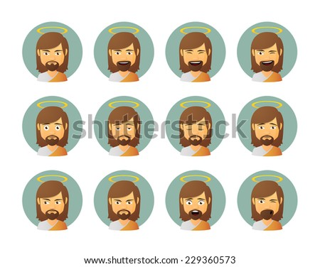 Illustration of an isolated Jesus avatar expression set - stock vector