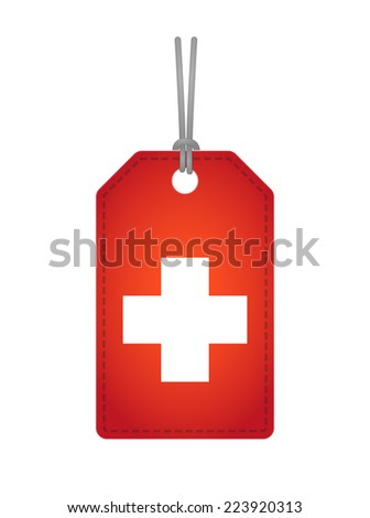 Illustration of an isolated label icon with a swiss flag - stock vector