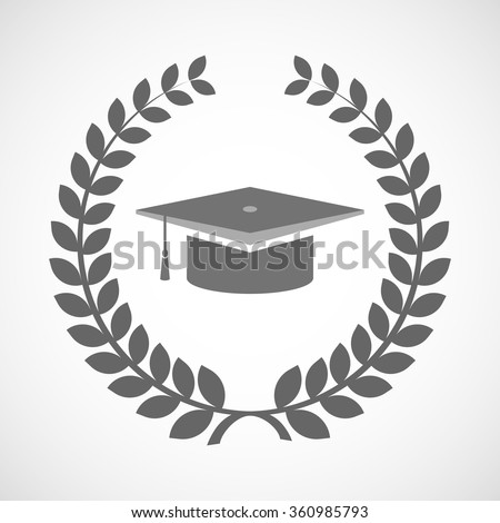 Illustration of an isolated laurel wreath icon with a graduation cap - stock vector