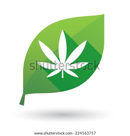 Illustration of an isolated leaf icon with a marijuana sign - stock vector