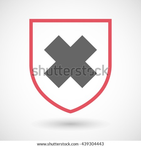 Illustration of an isolated line art shield icon with an irritating substance sign - stock vector