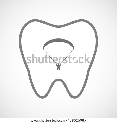 Illustration of an isolated line art tooth icon with a paraglider - stock vector