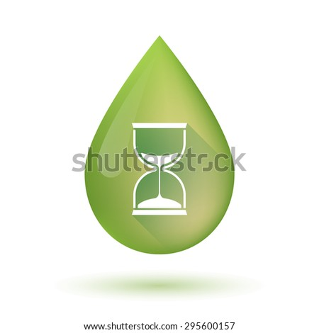 Illustration of an isolated Olive oil drop icon with a sand clock - stock vector