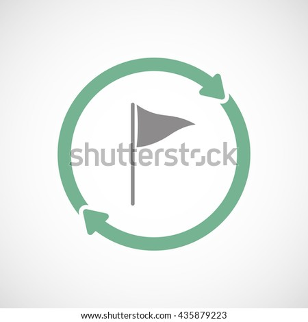 Illustration of an isolated reuse line art sign with a golf flag - stock vector