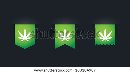 Illustration of an isolated set of green ribbons - stock vector