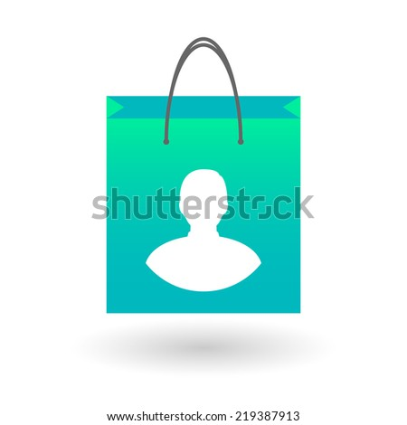 Illustration of an isolated shopping bag with a an avatar - stock vector