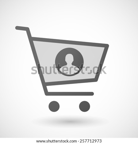 Illustration of an isolated shopping cart icon with a male avatar sign - stock vector